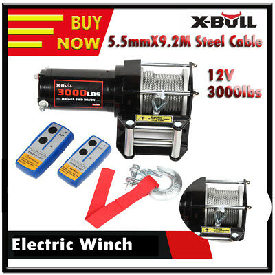 Electric Winch 3000LBS 12V High Tensile 9.2M Steel Cable Wireless 4WD ATV