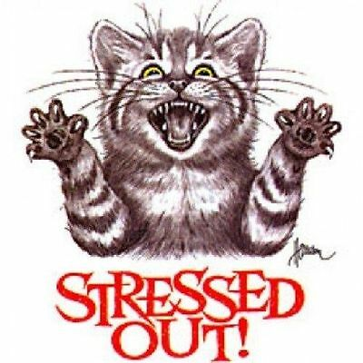 Xl Stressed Out Cat Novelty Tee T-Shirt (Unisex Fit) Cat Lover Mens Womens