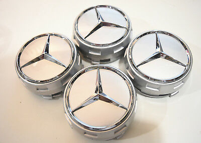 4 PC SET Mercedes Benz Wheel Raised Center Caps Ember Silver Hubcaps 75MM