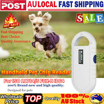 Professional RFID Animal Pet Microchip Recognition Reader Ear Tag Scanner White