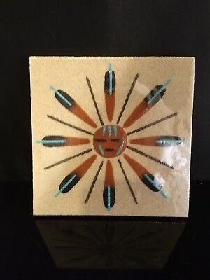 "Authentic Native American Navajo 4"" By 4"" Handmade Sandpainting Signed JG#131"