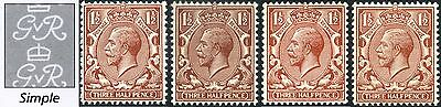 1912-24 KGV Royal Cypher 1½d Concise Shades SG 362, 363, 364, 365