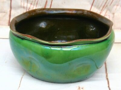 Watcombe Art Pottery Devon Torquay Ware Green Glazed Bowl Signed & Numbered