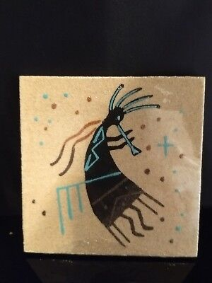 """Authentic Native American Navajo 4,"""" By 4"""" Pottery Sandpainting Signed JG#136"""
