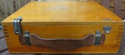 Vintage Wooden Art/Storage Box with Leather Handle - 27 x 22.5 x 8.5 cm