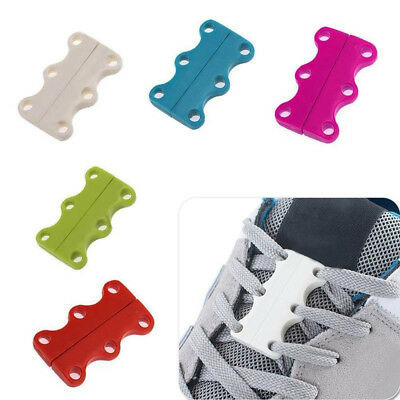 Chic Lazy Magnetic Fast Closing Shoe Lace Sneaker Shoe Buckle No Tie White Black