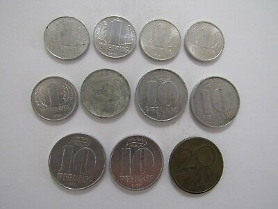 Lot of 11 Different Old East Germany Coins - 1962 to 1978 - Circulated & Unc.