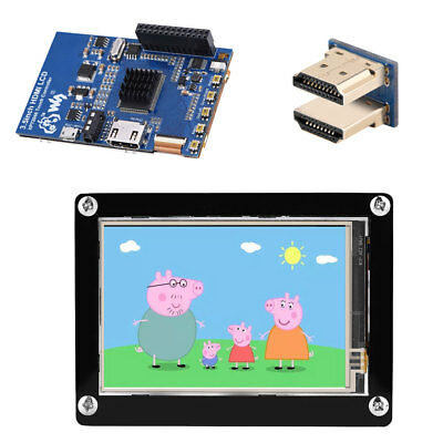 1080P IPS 3.5 inch HDMI LCD Screen Display for Raspberry Pi + Black Acrylic Case