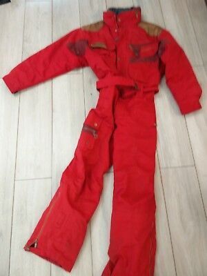 Mens Vinatge Nevica Red All In One Ski Skiing Snow Suit Uk 40 M