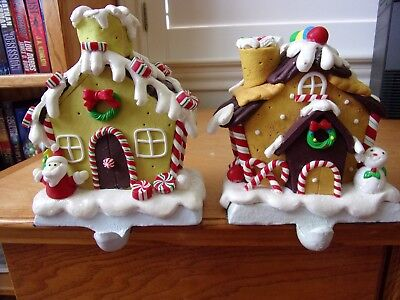 Vintage Polyresin Mantel Stocking Hangers~Lot of Detail~Peppermints, Santa ETC.