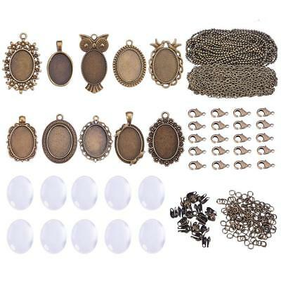 10 Sets Assorted Cabochon Frame Setting Tray Charms Pendant with Clear Dome