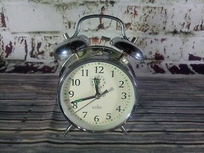 Vintage Retro Acctim Alarm Clock Bell Cool Quirky Working Order Glow Dial