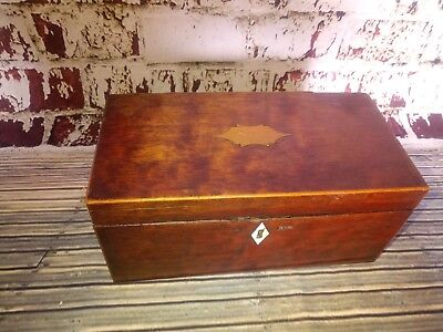 Antique Victorian Edwardian Old Wooden Tea Caddy Caddie Display Box Storage