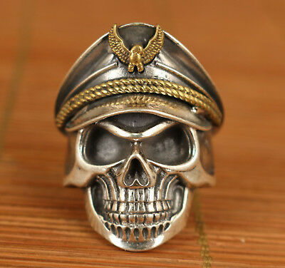 Nice chinese old 100% Fine S925 Silver skull P0lice Statue Ring not tibet silver