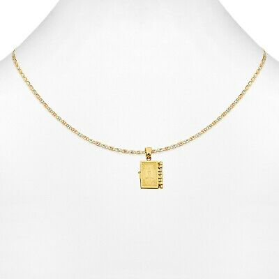 Free Chain Real 14k Yellow Gold Holy Bible Locket Small Medallion Charm Pendant