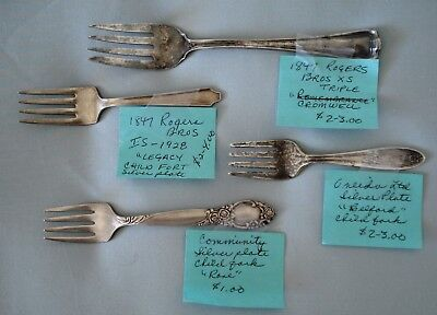 Vintage Assorted Silver Plate Baby Child Salad Forks Lot of 4