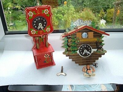 Vintage Cuckoo style Mech Clock German Girl on Swing + Grandfather Clock + Key