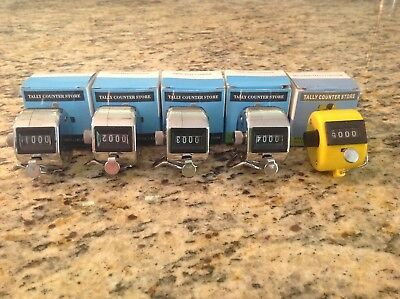 Set of 5 Hand Held Tally 4 Digit Manual Mechanical Palm Clicker Counter New !!