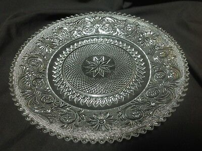 """8"""" clear glass salad-luncheon sandwich plate. Lace pattern by Duncan Miller"""
