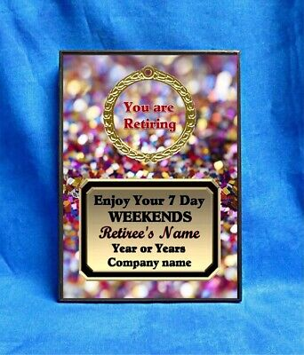 Retirement Confetti Custom Personalized Award Plaque Gift Retired Retiring