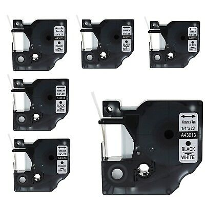 6PK 43613 Black on White Label Tape for DYMO D1 LabelManager 160 200 6mm 1/4""