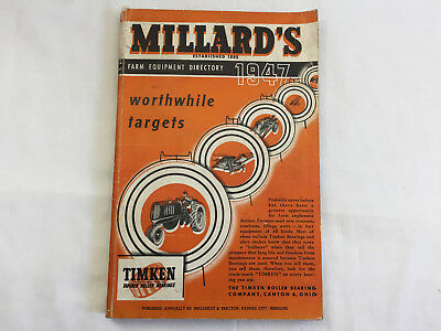 Vintage 1947 MILLARD'S FARM EQUIPMENT DIRECTORY catalog tools DEALERS stores