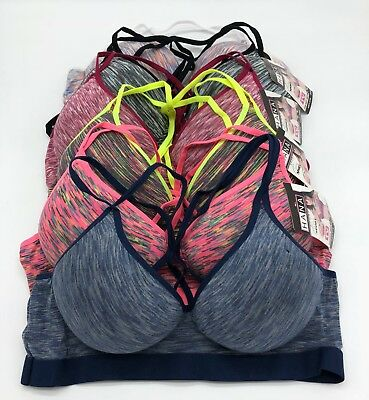 edf8ba39f7a36 Lot 3 or 6 Wire Free Light Padded Spandex Cross String Cotton Sports Bra B  Cup