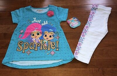 Shimmer and Shine Toddler Girl Tunic Shirt and Capri Leggings Outfit New 4T
