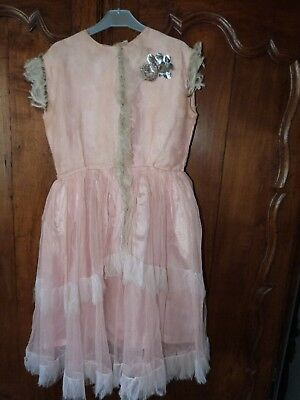 Antique French pink satin tulle dress shabby chic AS IS