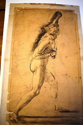 "Antique 1520 Drawing of Raphael Mural. Paper Original.15,3""x9,5"".Disciple Romano"