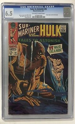 Tales to Astonish #92 (Marvel 6/67) CGC 6.5 OW/W Silver Surfer Cameo