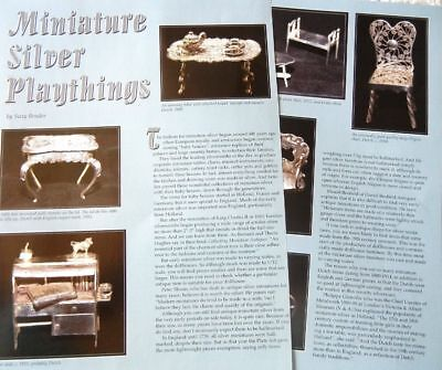 4p History Article - Antique English Silver Miniature Doll House Furniture