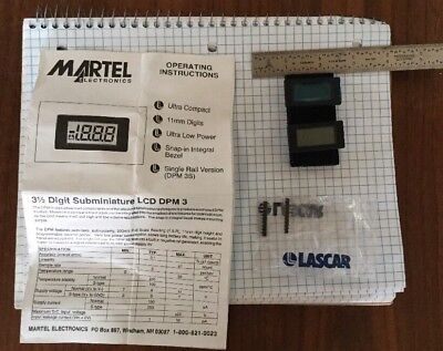 TWO,3.5 Digit LCD DPM3-Subminiature LCD - Martel DPM3 *NOS*