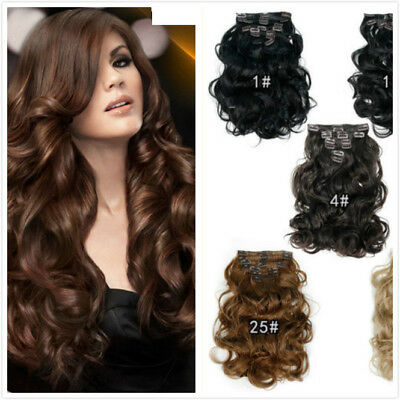 8Pcs/Set 22'' 7Colors Clip in Hair Extension Curly Wavy Synthetic Hair Full Head