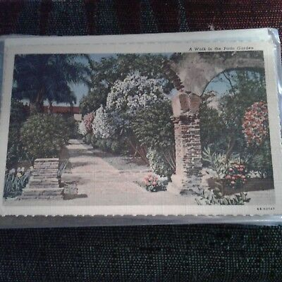 Vintage Postcard Walk In The Patio Garden Mission San Juan California