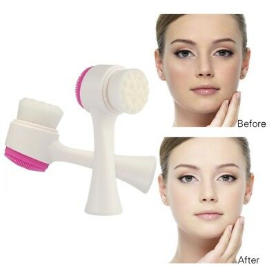 Duble Side Silicone Facial Cleansing Brush Face Cleaning Massage Beauty Brush US