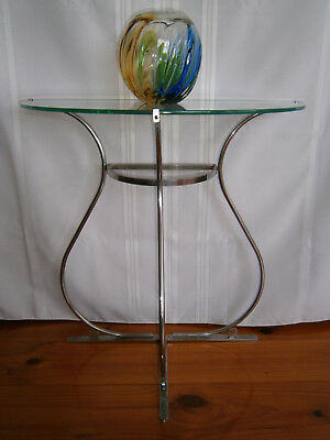 Deco Vintage Glass Top Chrome Side Table 1940-50's