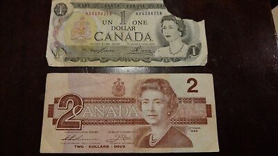 1973 $1 and 1986 $2 Canadian Dollars