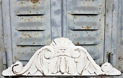 "Shabby Painted Architectural Pediment 13""3 Antique French Hand Carved Wood Crown"
