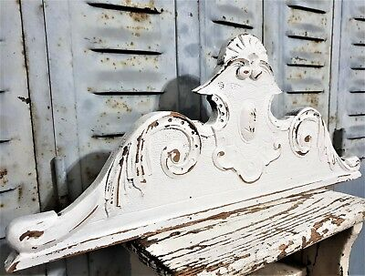 Shabby Painted White Pediment Antique French Carved Wood Mount Cornice Crest
