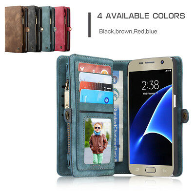 Leather For Samsung S9/S8/S7 Plus/Note Phone Card Holder Wallet Flip Case Cover