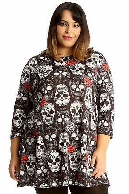 New Womens Plus Size Top Ladies Sugar Skull & Roses Print Swing Tunic Halloween