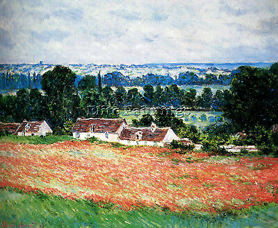 Monet Field Of Poppies Giverny 1885 Artist Painting Oil Canvas Repro Art Deco