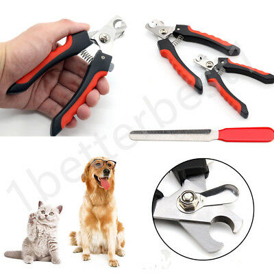 Pet Nail Cat Claw Clippers Trimmer Scissors Grooming Cutters File 2 Sizes BBTT