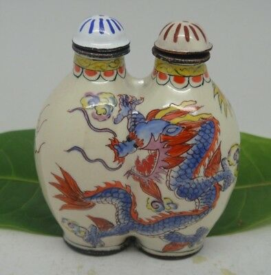 Old Decorated Handwork Cloisonne enamel Bottle Dragon & Phoenix Snuff Bottle