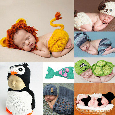Newborn Baby Girl Boy Crochet Costume Photo Photography Prop Hats Outfits New