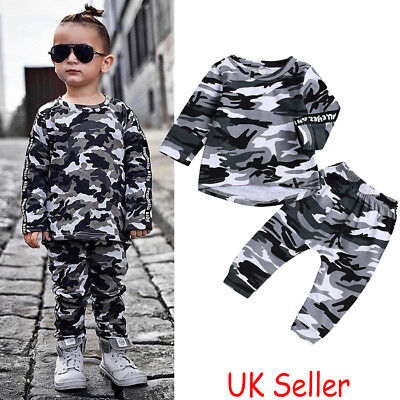 Toddler Kids Baby Boys Long Sleeve Camo Tops T-shirt Pants 2PCS Outfits Clothes