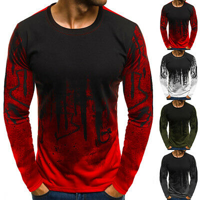 Men's Slim Fit Long Sleeve Muscle Tee Shirts Casual T-shirt Tops Loose Blouse