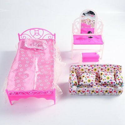 Barbie Doll House Furniture Living Room Pink Sofa Bed Dressing Table
