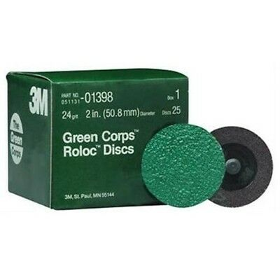 """3M 01398 Green Corps Roloc 2"""" 24 Grit Grinding Disc, 10 Boxes of 25 Discs"""